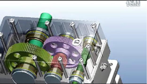 二级圆柱齿轮减速机3D动画